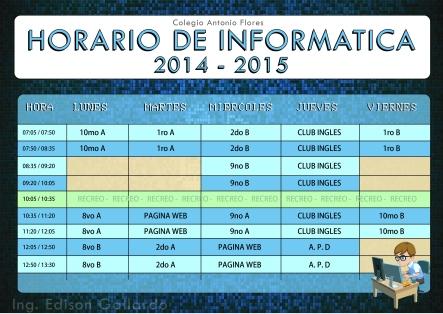 Horario de clases 2014-2015 Informática Copyright Ing. Edison Gallardo